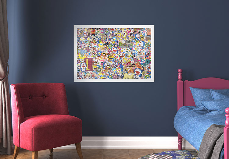 Framed Murakami Jigsaw Puzzle on Bedroom Wall